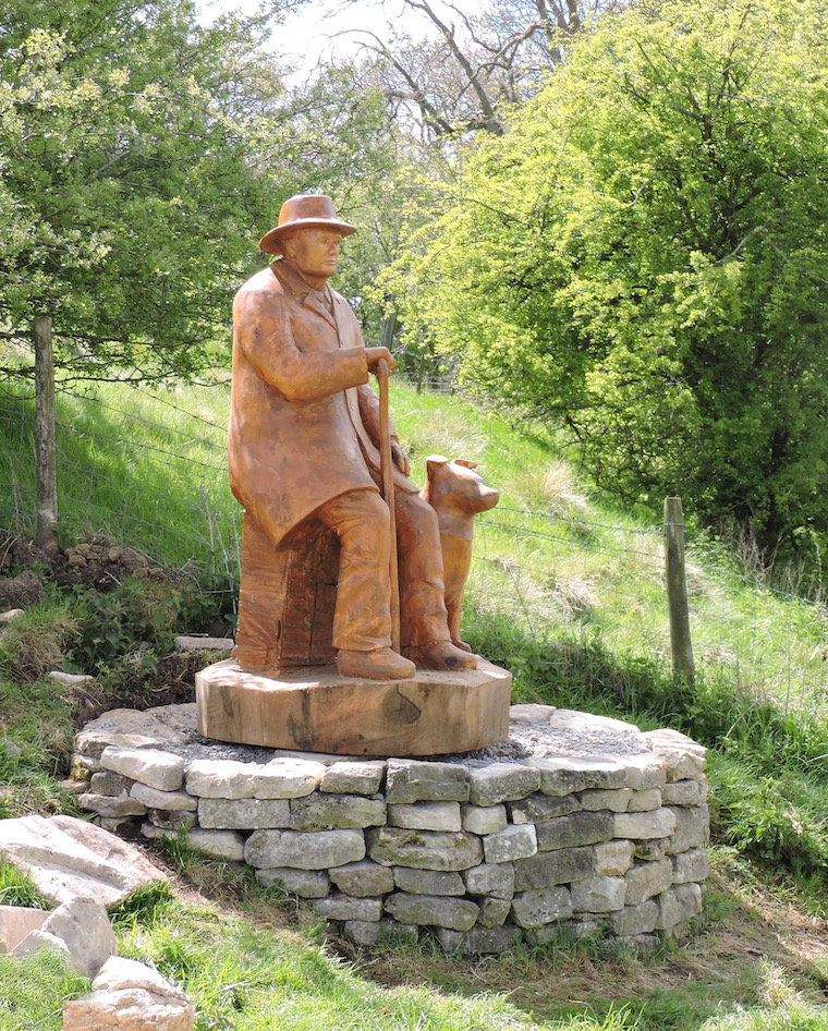 Drover Wood Carving on Langley Hill